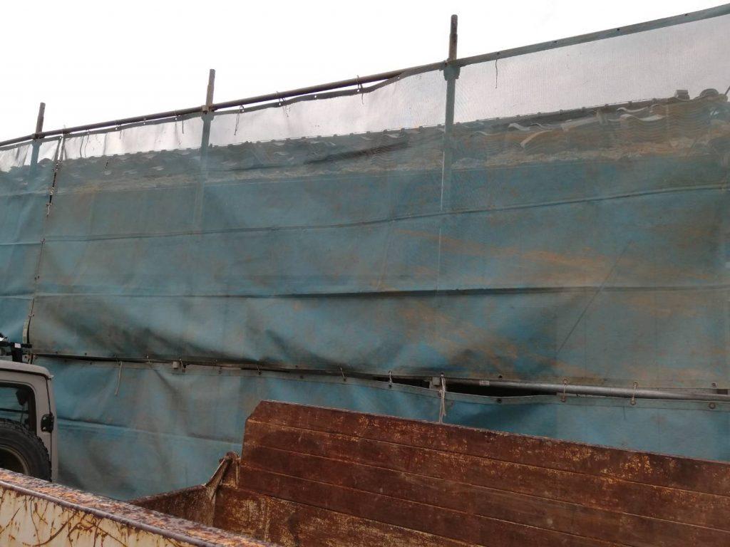 稲沢の現場の解体工事の事前養生